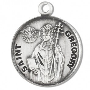 """HMH Religious Sterling Silver St. Gregory Medal With 20"""" Chain Necklace"""