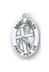 "HMH Religious Sterling Silver St. Helen Medal With 18"" Chain Necklace"