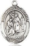 "Bliss Manufacturing Sterling Silver St. John the Baptist Medal With 20"" Chain Necklace"