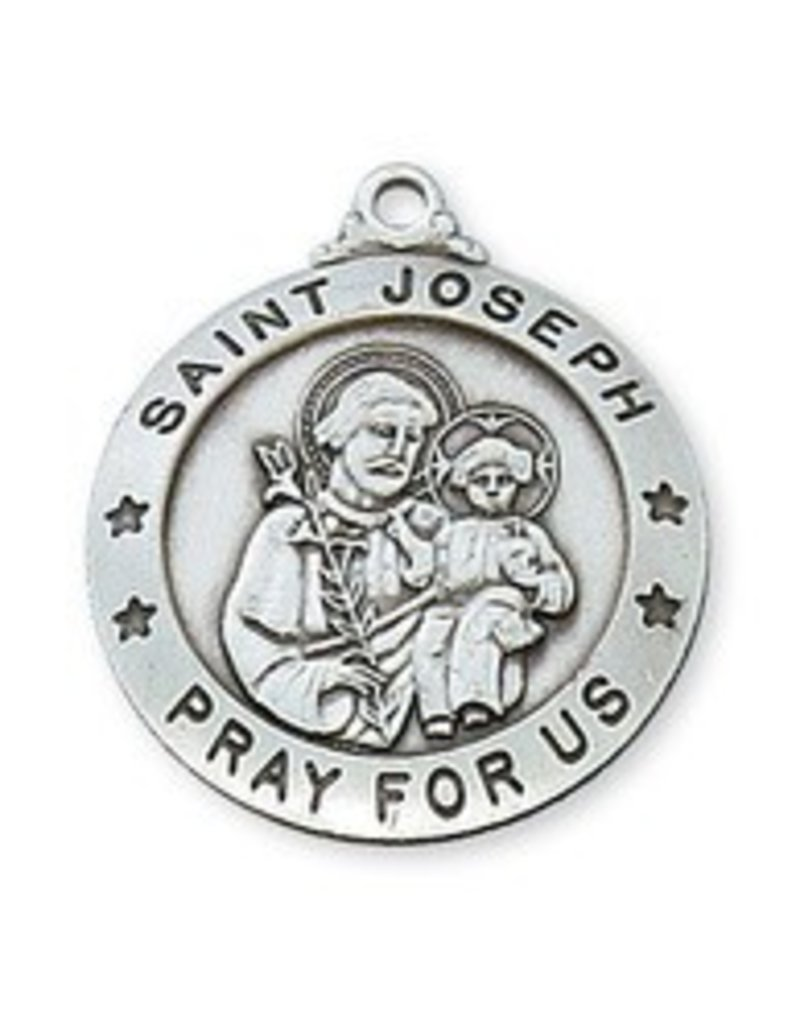 """McVan Sterling Silver St. Joseph Medal with 24"""" Chain"""