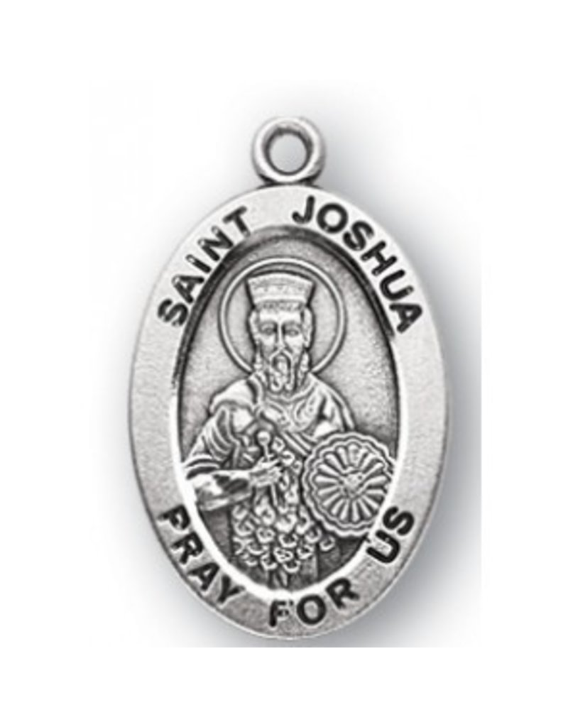 """HMH Religious Sterling Silver St. Joshua Medal With 20"""" Chain Necklace"""
