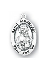 "HMH Religious Sterling Silver St. Margaret Medal-Pendant With 18"" Chain Necklace"