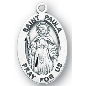 """HMH Religious Sterling Silver St. Paula Medal-Pendant With 18"""" Chain Necklace"""