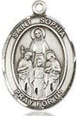 "Bliss Manufacturing Sterling Silver St. Sophia Medal-Pendant With 18"" Chain Necklace"