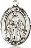"""Bliss Manufacturing Sterling Silver St. Sophia Medal-Pendant With 18"""" Chain Necklace"""