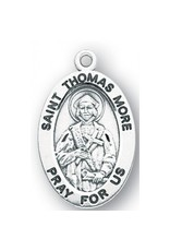 "HMH Religious Sterling Silver St. Thomas Moore Medal-Pendant With 20"" Chain Necklace"