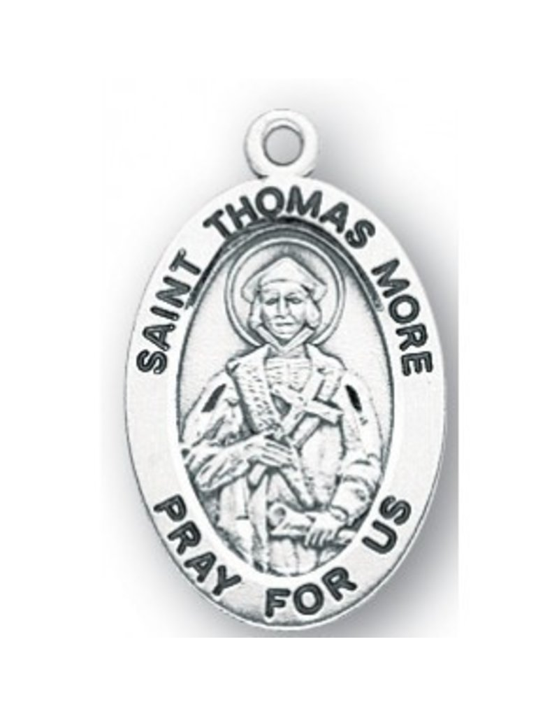 """HMH Religious Sterling Silver St. Thomas Moore Medal-Pendant With 20"""" Chain Necklace"""