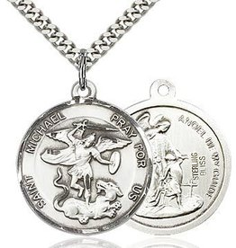 Bliss Manufacturing Large Round Brass Velveteen St. Michael Medal Pendant With Chain Necklace