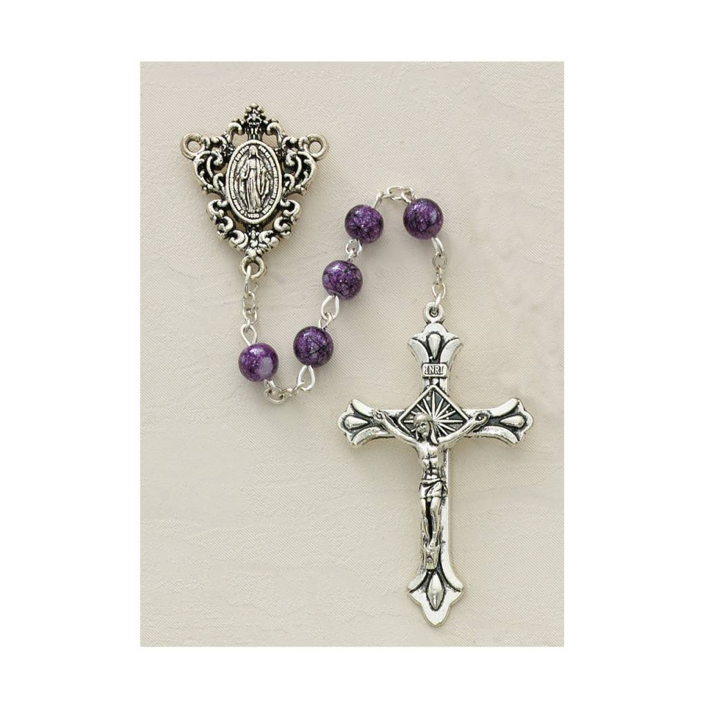 McVan 6mm Purple Immaculate Heart Rosary With Miraculous Medal