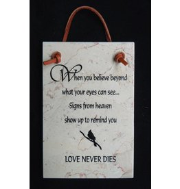 Holy Land Stone Love never dies - Bereavement Plaque