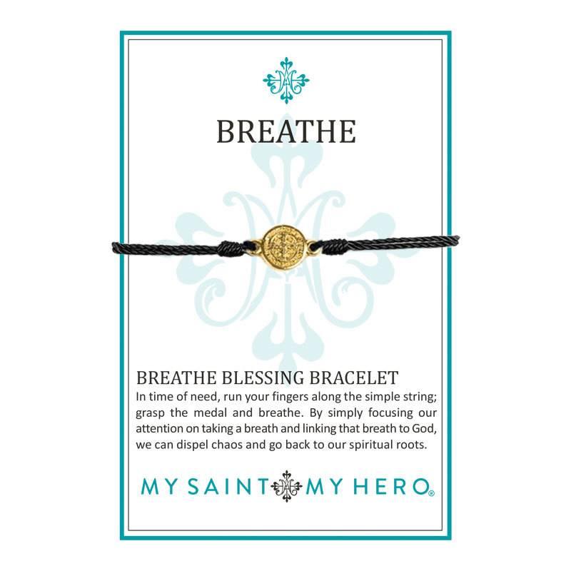 My Saint My Hero Breathe Blessing Bracelet - Gold - Black