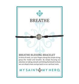 My Saint My Hero Breathe Blessing Bracelet - Silver - Black