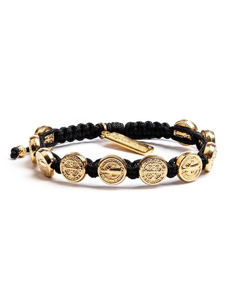 My Saint My Hero Benedictine Blessing Bracelet - Gold Medals - Black