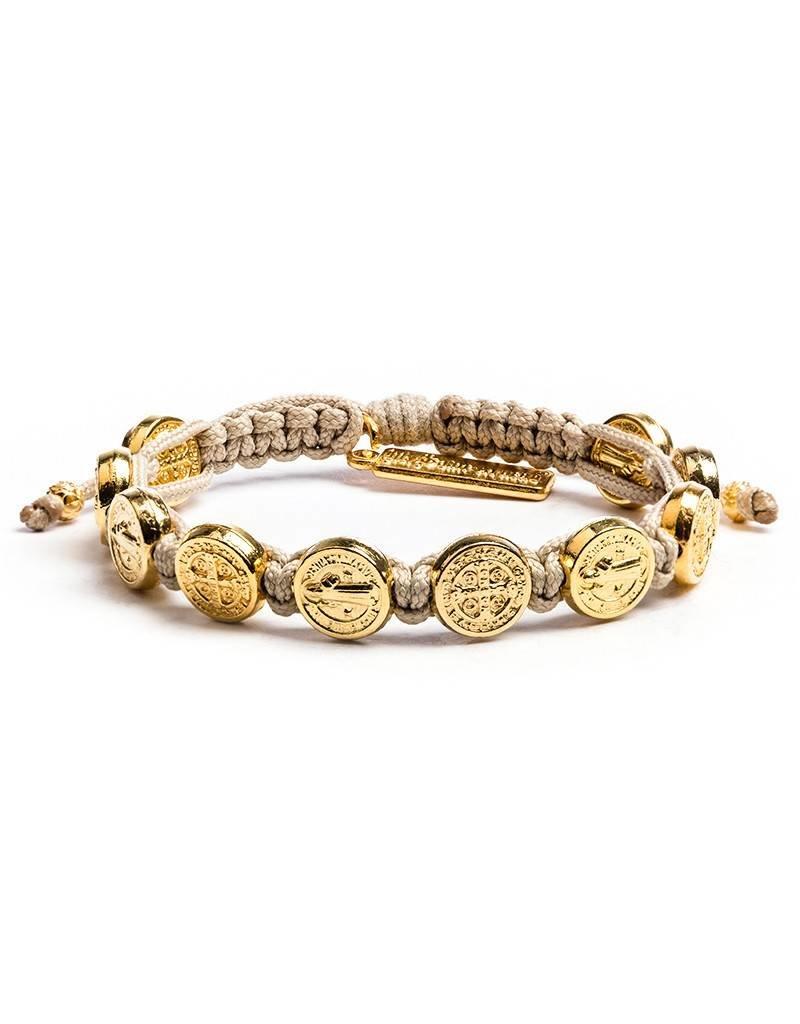 My Saint My Hero Benedictine Blessing Bracelet - Gold Medals - Tan
