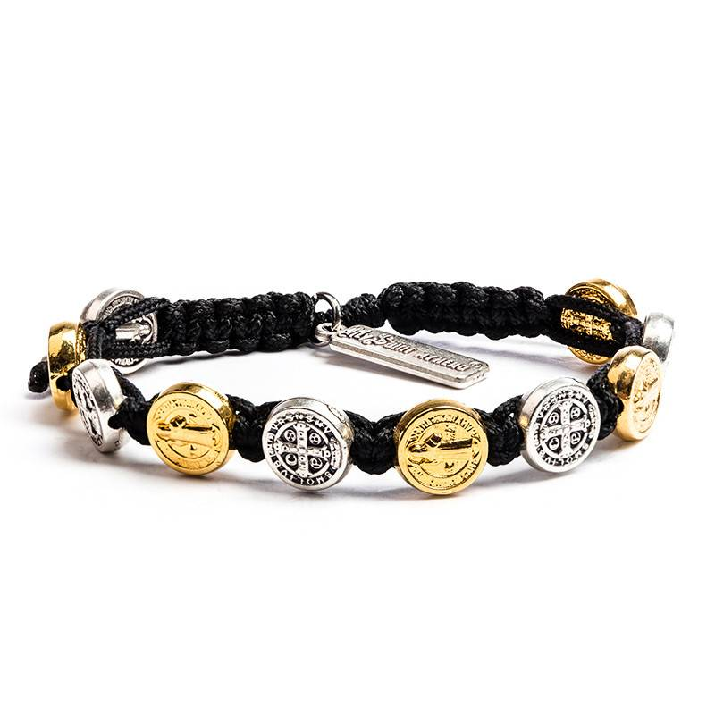 My Saint My Hero Benedictine Blessing Bracelet - Mixed Medals - Black