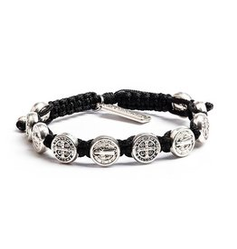 My Saint My Hero Benedictine Blessing Bracelet - Silver Medals - Black