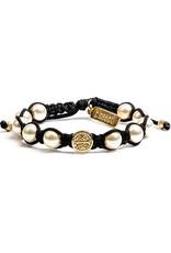My Saint My Hero Divine Blessings White Pearl Bracelet - Black Cord/Gold Medal
