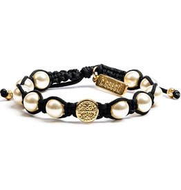 My Saint My Hero Divine Blessings White Pearl Bracelet - Black Cord/Gold Medal