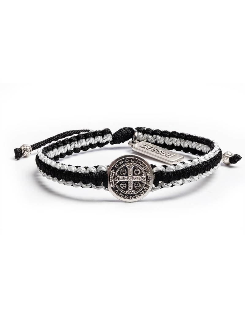 My Saint My Hero Gratitude Blessing Bracelet Black and Metallic Silver