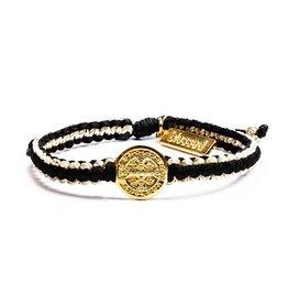 My Saint My Hero Gratitude Blessing Bracelet Metallic  Gold and Black