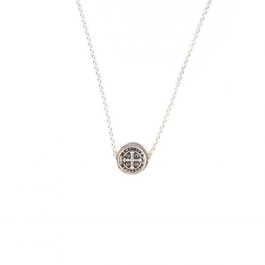 My Saint My Hero Benedictine Petite Necklace - Silver