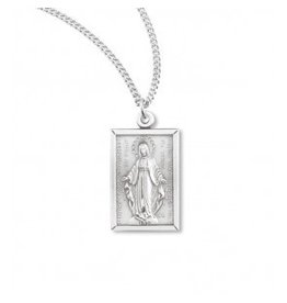 "HMH Religious Miraculous Medal Sterling Silver Rectangular Pendant With 18"" Chain Necklace"