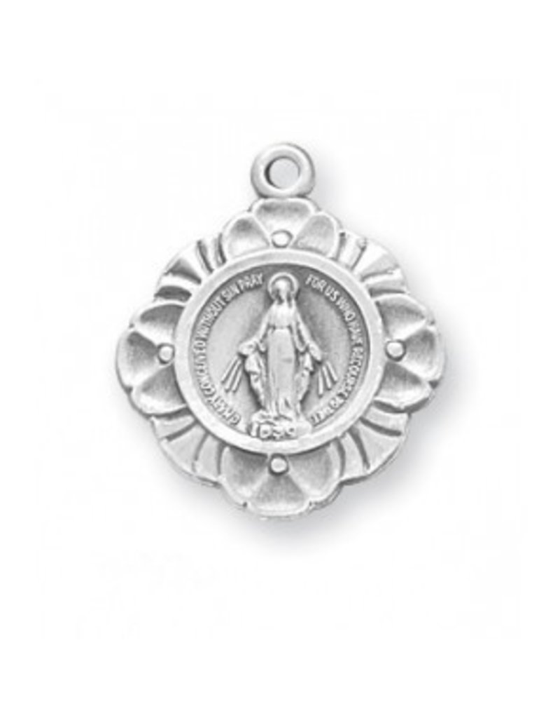 """HMH Religious Miraculous Medal Sterling Silver Charm Pendant With 18"""" Chain Necklace"""