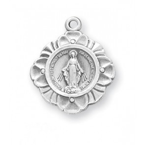 "HMH Religious Miraculous Medal Sterling Silver Charm Pendant With 18"" Chain Necklace"