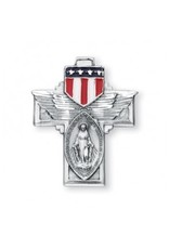 "HMH Religious Military Miraculous Medal and Cross With American Flag Wings 24"" Chain"