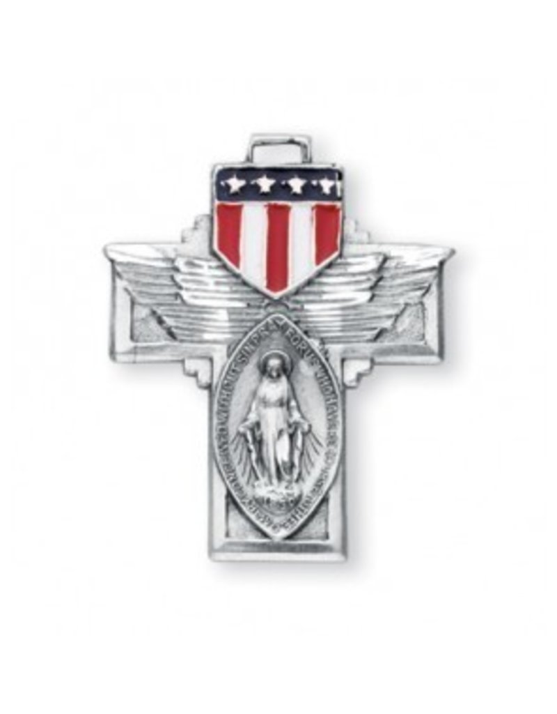 """HMH Religious Military Miraculous Medal and Cross With American Flag Wings 24"""" Chain"""