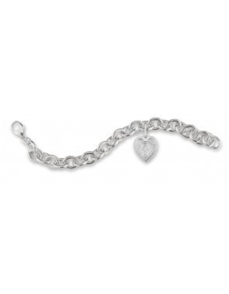 HMH Religious Heavy Solid Sterling Silver Link Bracelet with Heart Shaped Miraculous Heart Charm