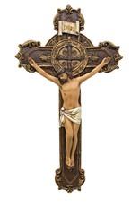 "Goldscheider of Vienna 11"" St. Benedict Crucifix Full Color"