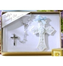 Roman, Inc 2 Piece Set Baby Boy Rosary and Cross