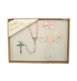 Roman, Inc 2 Piece Set Baby Girl Rosary and Cross