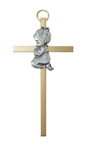 """Christian Brands 4.25"""" Brass Cross - Baby Girl"""