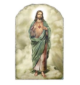 """Christian Brands 8.5"""" Sacred Heart Arched Tile Plaque with Stand"""