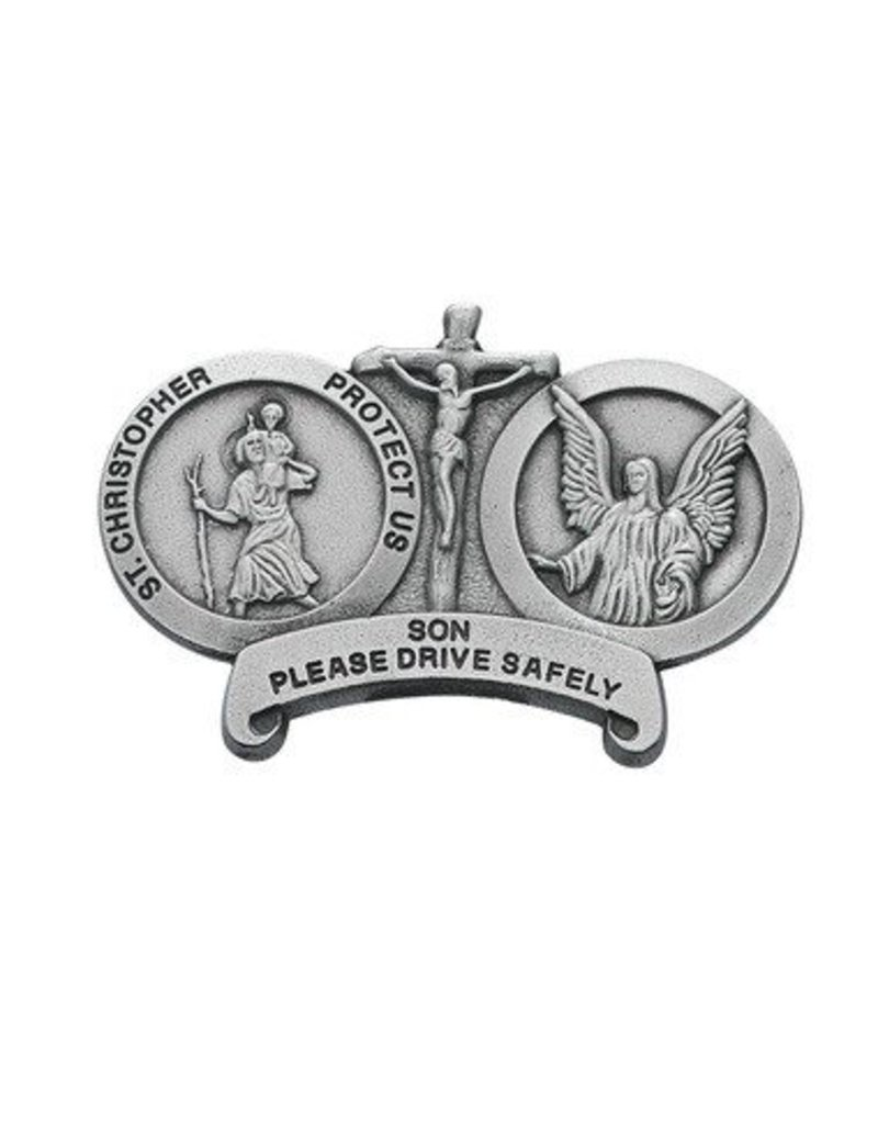 McVan Please Drive Safely Visor Clip with St. Christopher, Jesus Crucified, and Guardian Angel