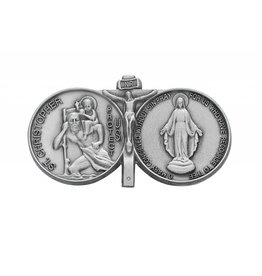 McVan McVan Visor Clip with St. Christopher, Jesus Crucified, and the Miraculous Medal