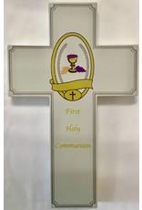 """Lumen Mundi Wood First Holy Communion Wall Cross Grey 8"""""""