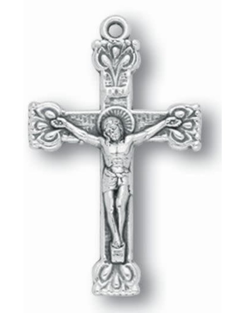 "WJ Hirten 1.5"" Silver Oxidized Fancy Crucifix"