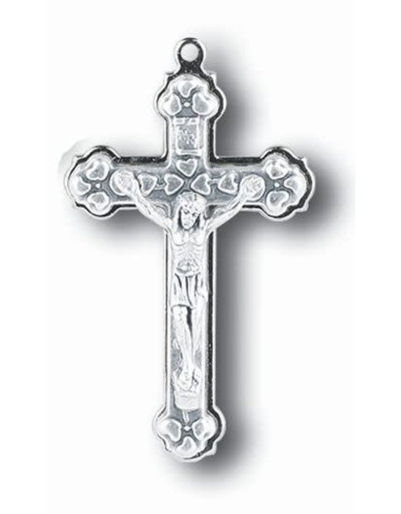 "WJ Hirten 1.5"" Small Metal Stepped Up Silver Oxidized Crucifix"