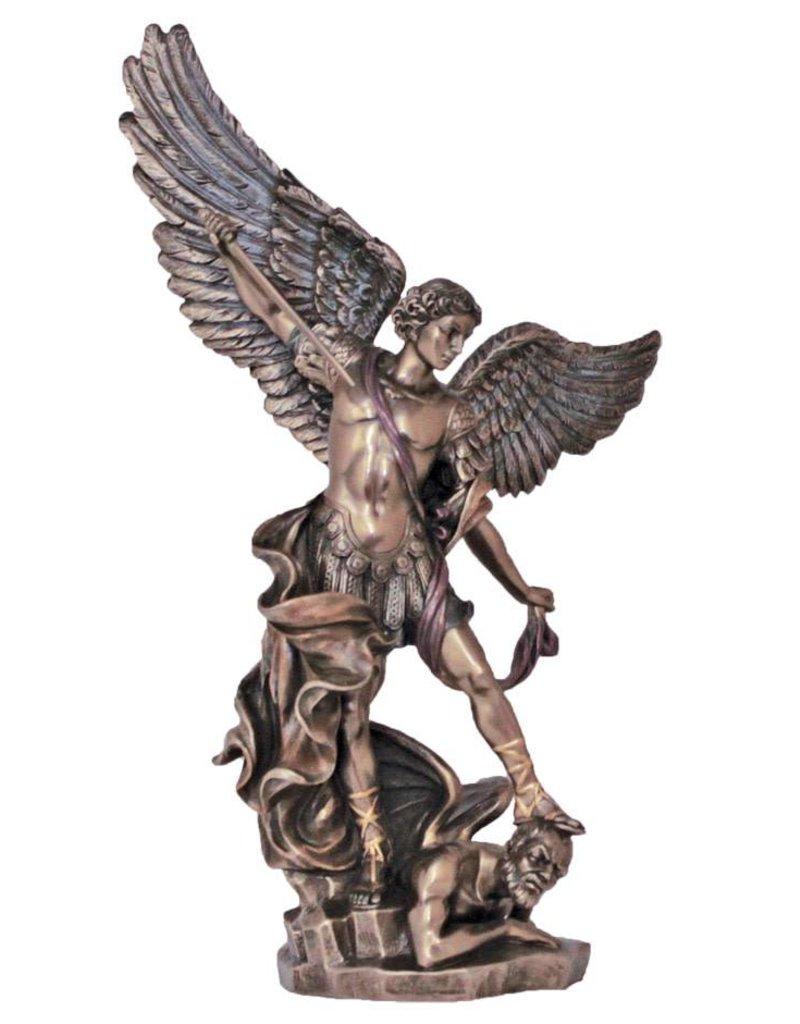 "Goldscheider of Vienna 14.5"" St. Michael Bronzed Resin Lightly Hand-Painted Statue by Veronese"