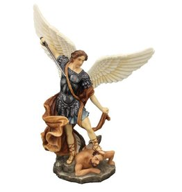 "Goldscheider of Vienna 8"" St. Michael Statue in fullly hand-painted color"