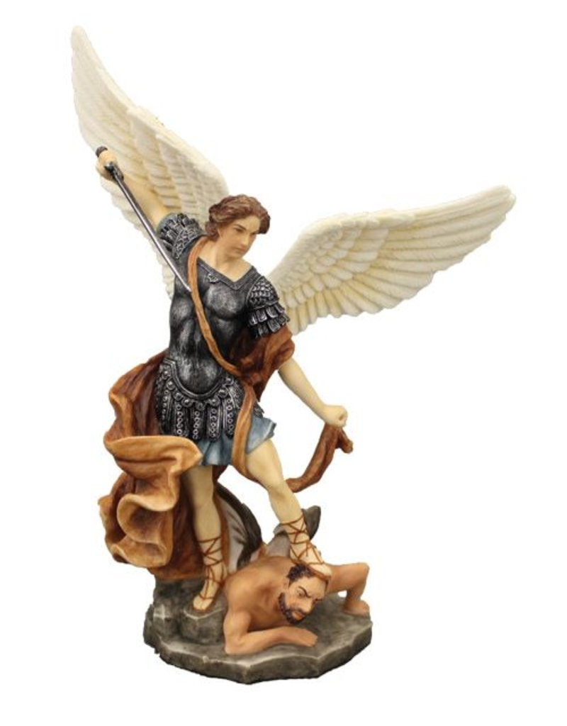 """Goldscheider of Vienna 8"""" St. Michael Statue in fullly hand-painted color"""