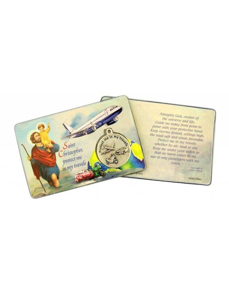 Lumen Mundi Traveler's Prayer Card With Medal St. Christopher
