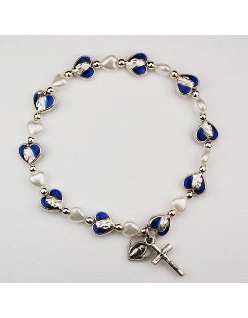 McVan Miraculous Medal Pearl Blue Enamel Heart Stretch Bracelet