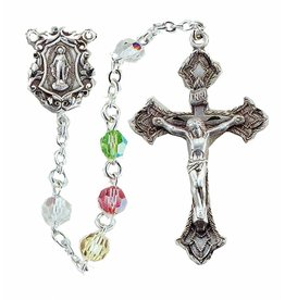 HMH Religious Crystal Rosary Multi Color Swarovski 6mm Sterling Silver Crucifix
