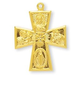 "HMH Religious Gold Over Sterling Silver Large Gothic 4 Way Cross with 24"" Chain"