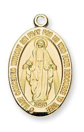 """HMH Religious 16Kt Gold Over Sterling Silver Miraculous Medal With 20"""" Chain Necklace"""