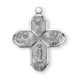 "HMH Religious Sterling Silver 4 Way Medal With 24"" Chain"